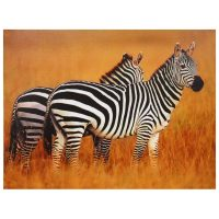 Plains Zebras Canvas Wall Art - OrientalFurniture.com