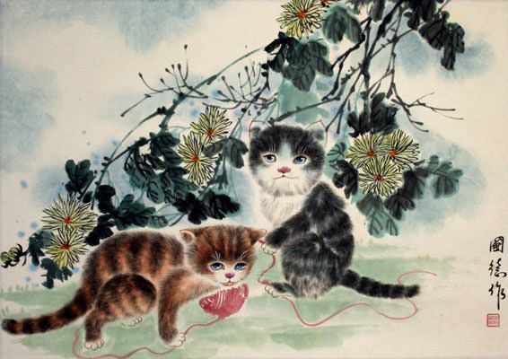 Cute Faith Wallpapers Kittens At Play Chinese Painting Cute Animals Cats