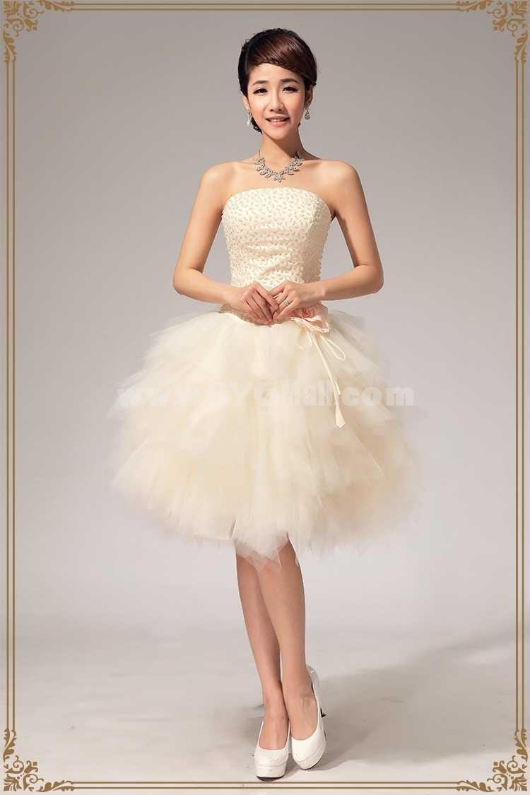 tea length wedding dresses short tulle wedding dress Short Tulle Wedding Dress Vintage inspired bride Strapless Illusion Neckline Full Tulle Skirt Open Back Available in Plus Size