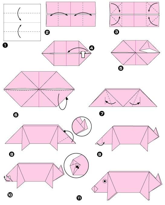 origami-diagramme-cochon-rose-papier Origami Day \u2013 Chaque jour son
