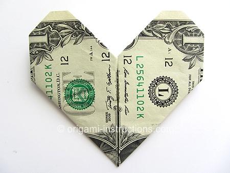 Easy Money Origami Heart Folding Instructions How To