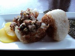 Yaki-onigiri (Grilled rice ball) - Grilled rice ball stuffed with pan fried duck