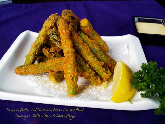 Tempura Batter and Seasoned Panko Crusted Fried Asparagus. With yozu cilantro mayo.