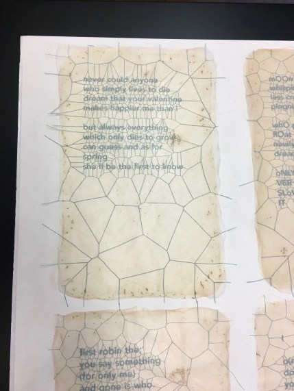 Close-up of finished pressed page. Laser cut text pressed within 5 layers of bio-paper to form one large single sheet.