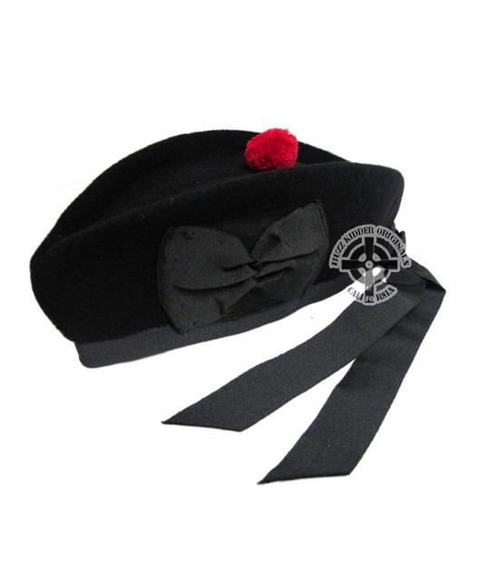Glengarry Black With Red Pom Pom