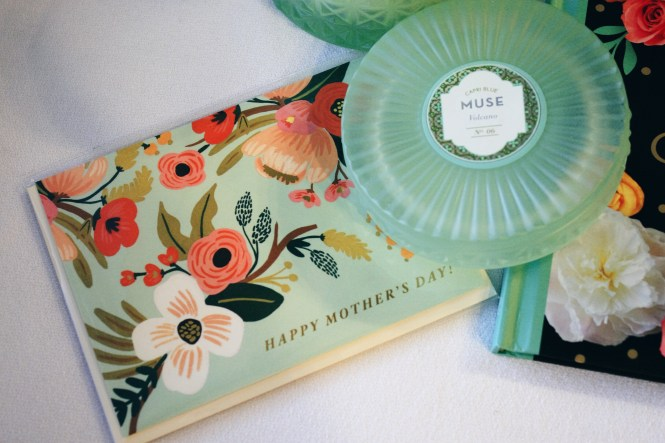 Last Minute Mother's Day Gift Guide. Candle, and card.