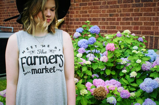 Meet Me At The Farmer's Market. Modeling a tank dress and floppy hat.