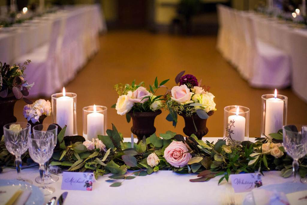 The table is decorated for reception