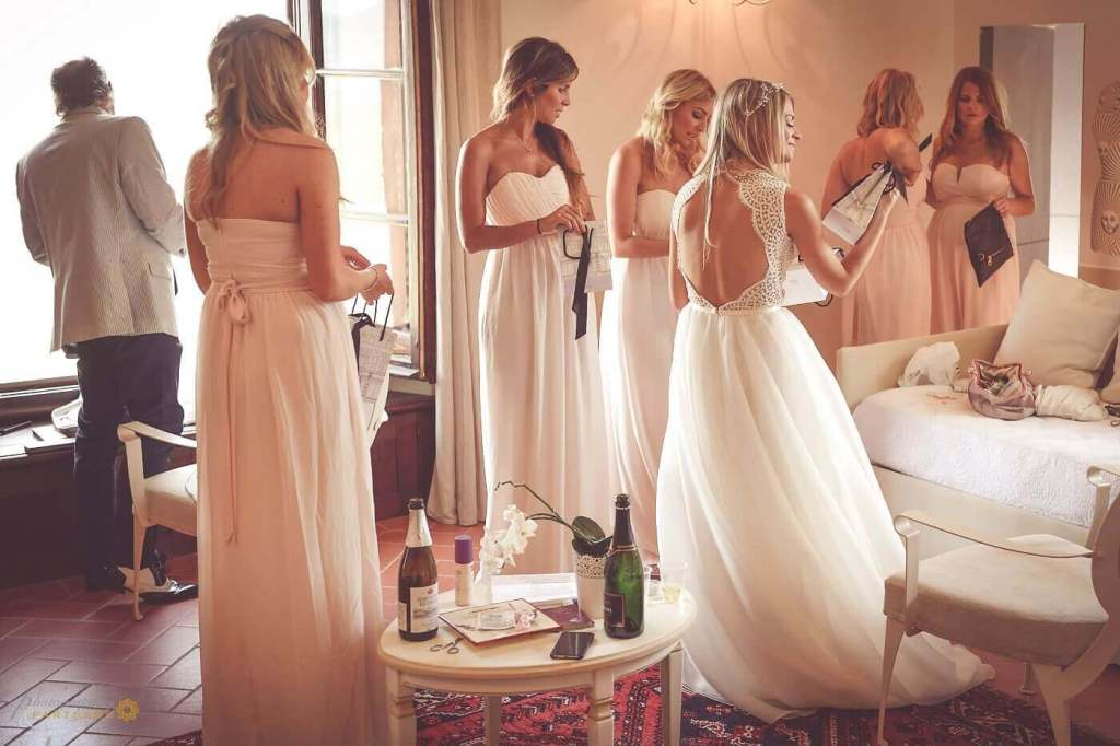Emma prepares for the ceremony with her bridesmaids