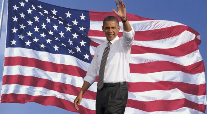 23003686 - president of the united states, barack obama waving with background of flag of the united states of america
