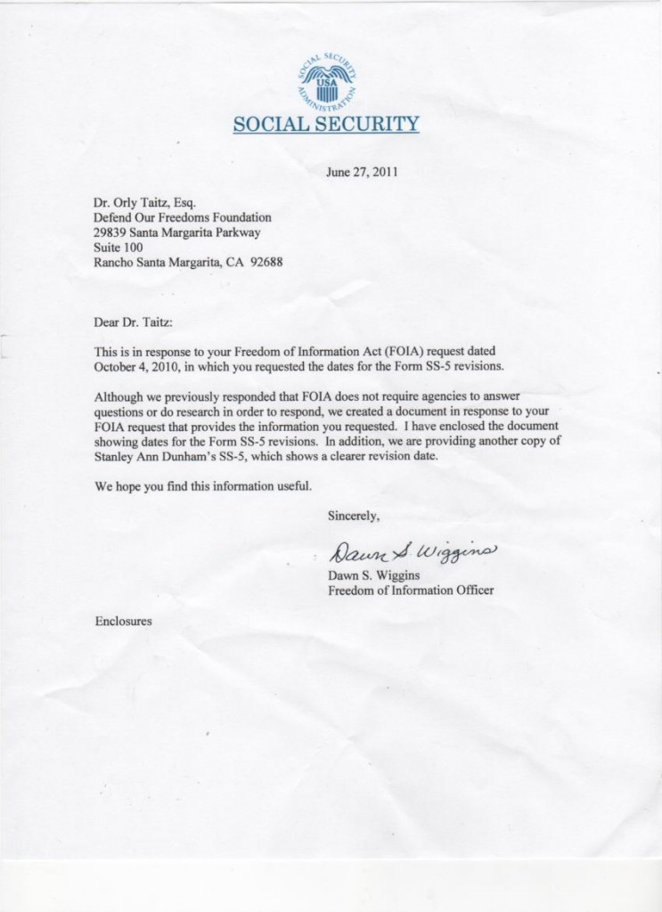 Letter from SSA shows an invalid application form for Ann Dunham