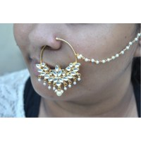Bridal Polki Diamond Nath Nose Ring