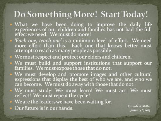 Postings - January 8 2013 - We Must Do More
