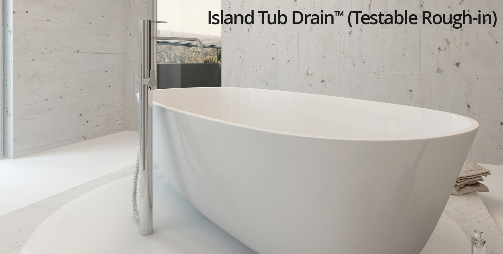 Island tub drain testable rough in