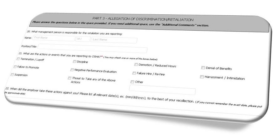 Employee Complaint OSHA Law Update - employee update form