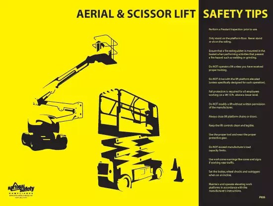 Aerial  Scissor Lift Safety Poster