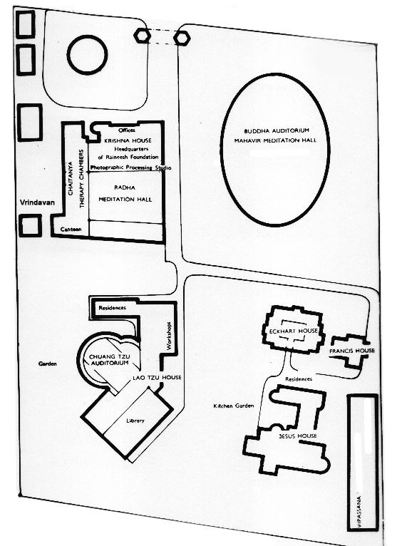 ashram map 1978 approx