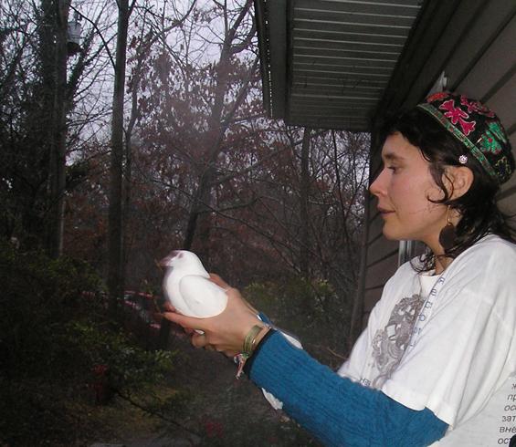 Dhiraja releasing dove
