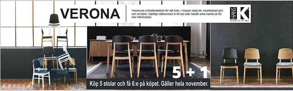 ERBJUDANDE Vid köp av 5 stolar få 6:e på köpet