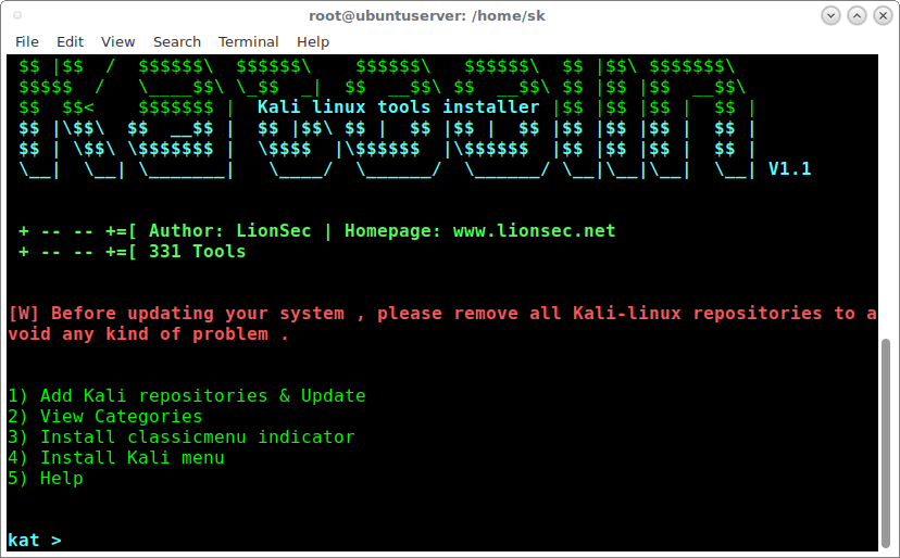 Install Kali Linux Tools Using Katoolin In Linux