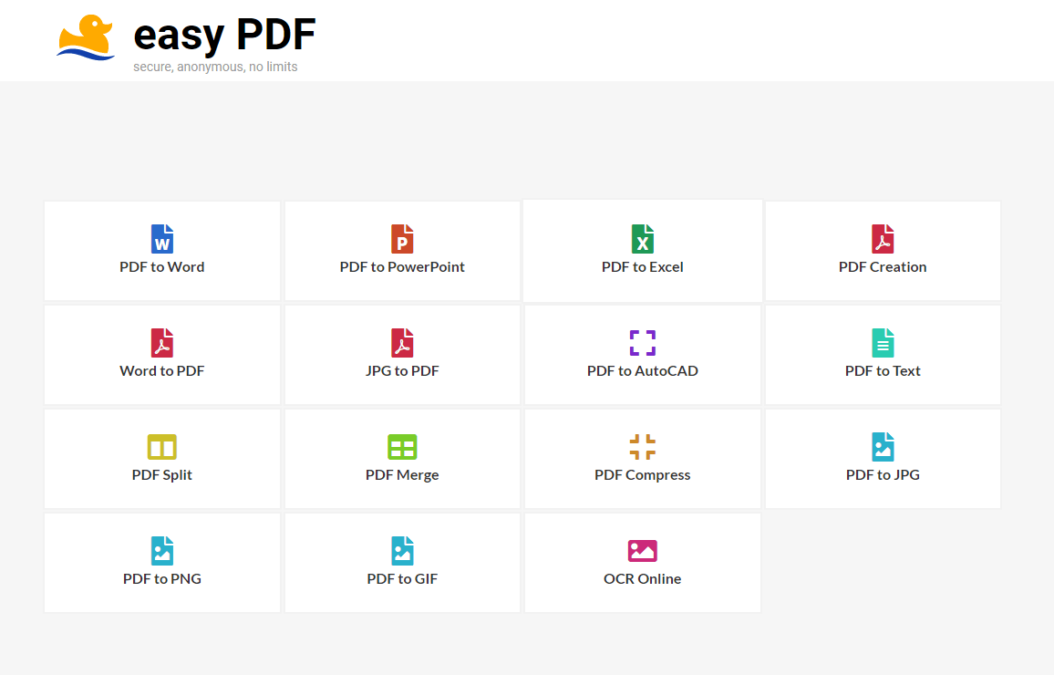 EasyPDF – A Free And Secure Online PDF Conversion Suite