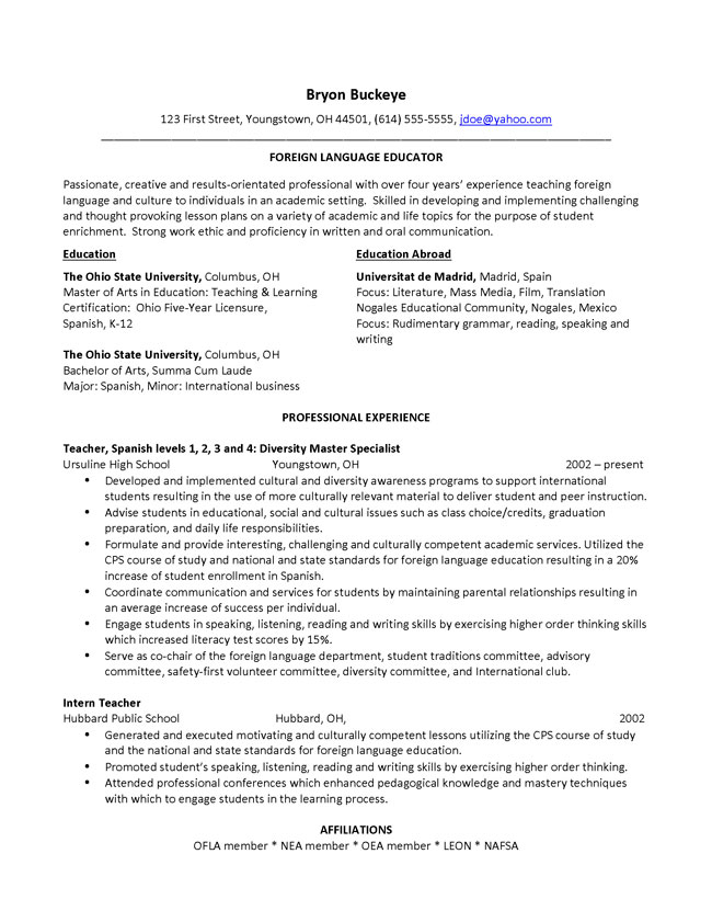 chronological resume references
