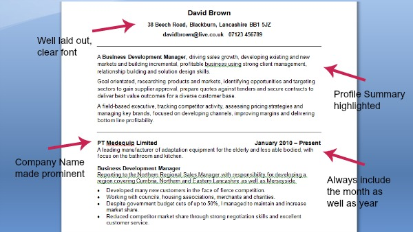 Good CV Example CV Template On Target Recruitment - a great cv example