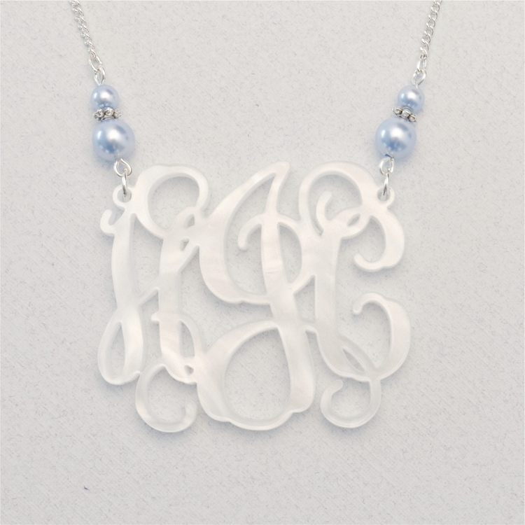 3 initial monogram necklace white gold
