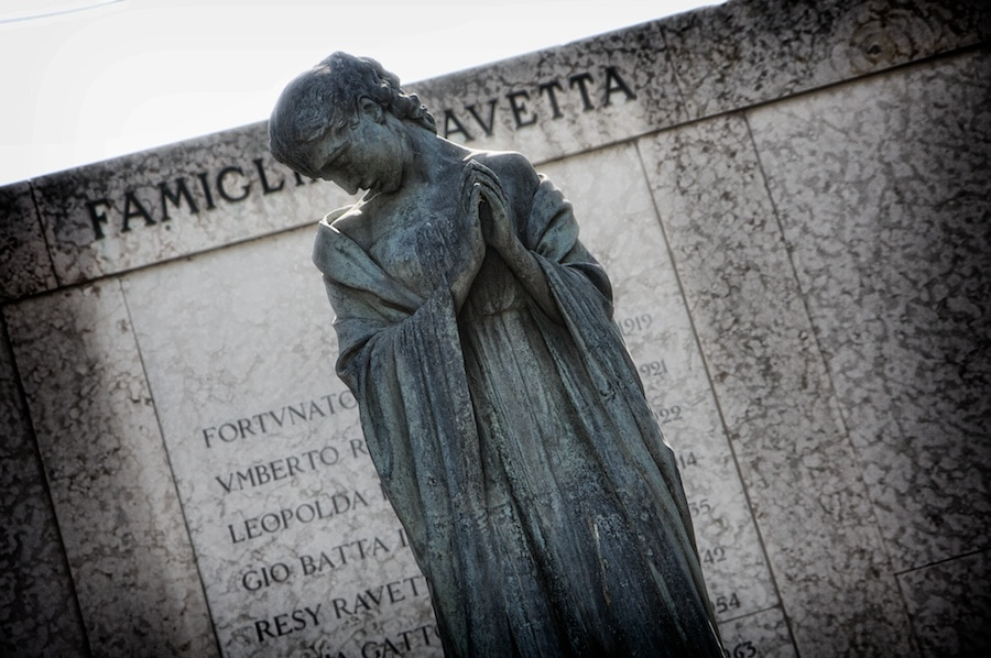 grieving statue