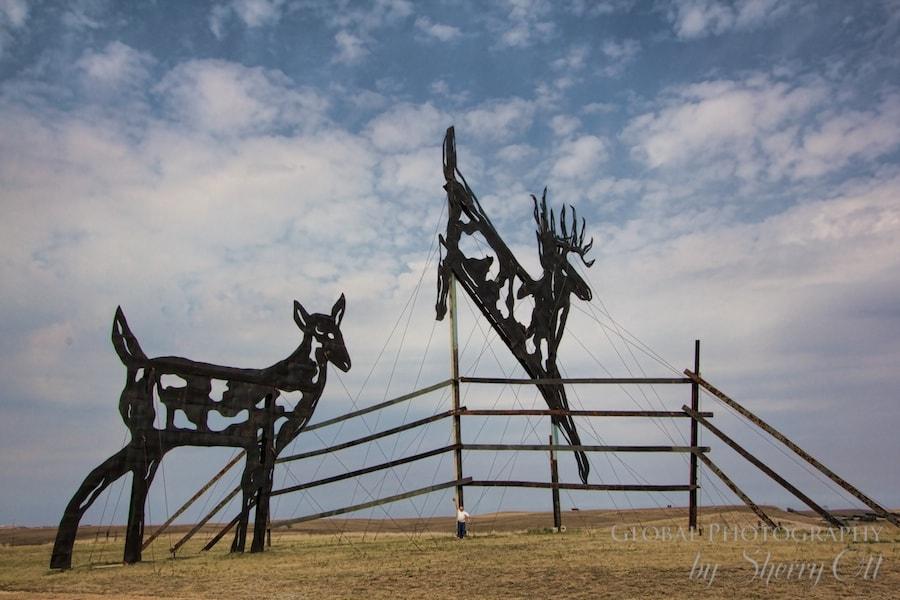 Giant deer metal sculpture