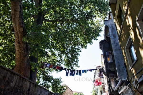 clothes hang on the line in Balat
