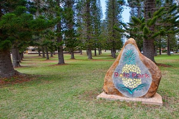 Dole Park the center of Lanai City