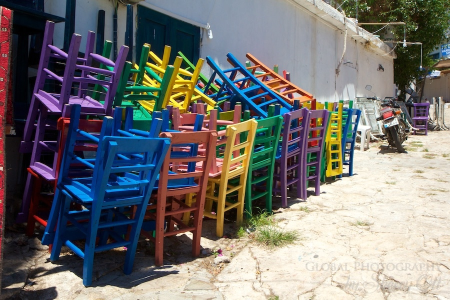 Cafe chairs colorfully stacked in Kas Turkey