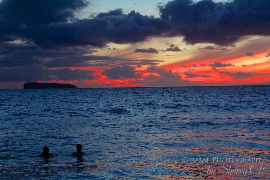 Maui Hawaii sunset little beach