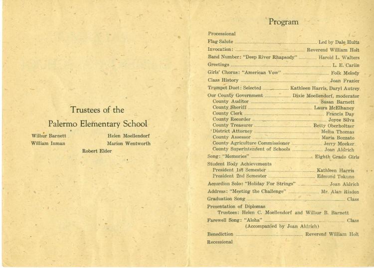 Palermo 8th Grade graduation program