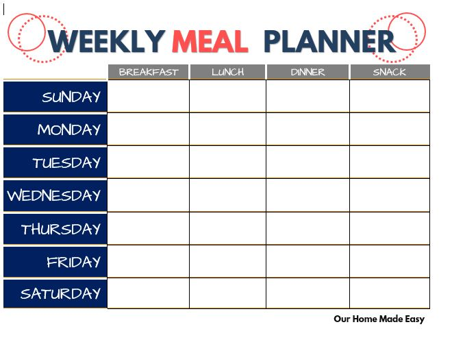 Weekly Meal Planner Printable \u2013 Our Home Made Easy