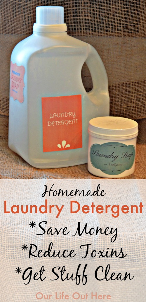 Want to save money and reduce toxins in your home? This diy laundry detergent will do just that! Give it a try! #homemadecleaners #diy wwwourlifeouthere.com
