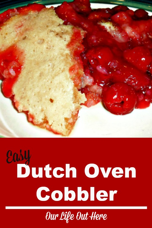 This easy dutch oven cobbler can be made with your favorite fruit and is super fast to put together!  #dessertrecipes #dutchoven #castiron