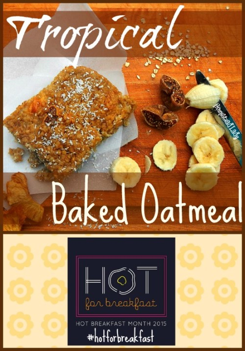 This tropical baked oatmeal is a great twist on plain oatmeal and makes a great, hot breakfast. #oatmealrecipe