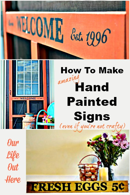 "Use this easy lettering technique to make a ""hand-painted"" pallet sign! #pallet #craft #farmhousesign www.ourlifeouthere.com"