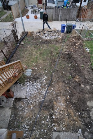 Backyard concrete destroyed