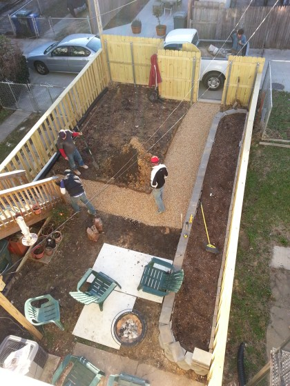 Backyard paver construction