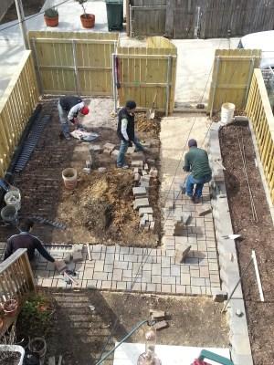 backyard paver construction progress
