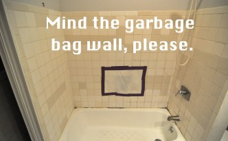 garbage bag bathroom wall