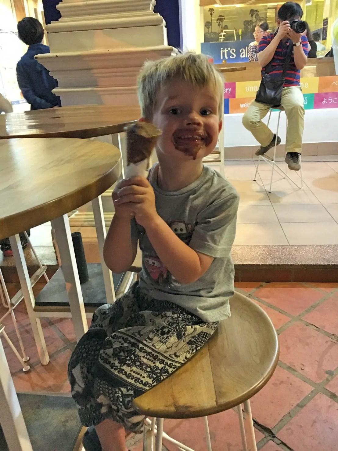 Enjoying a Blue Pumpkin ice-cream