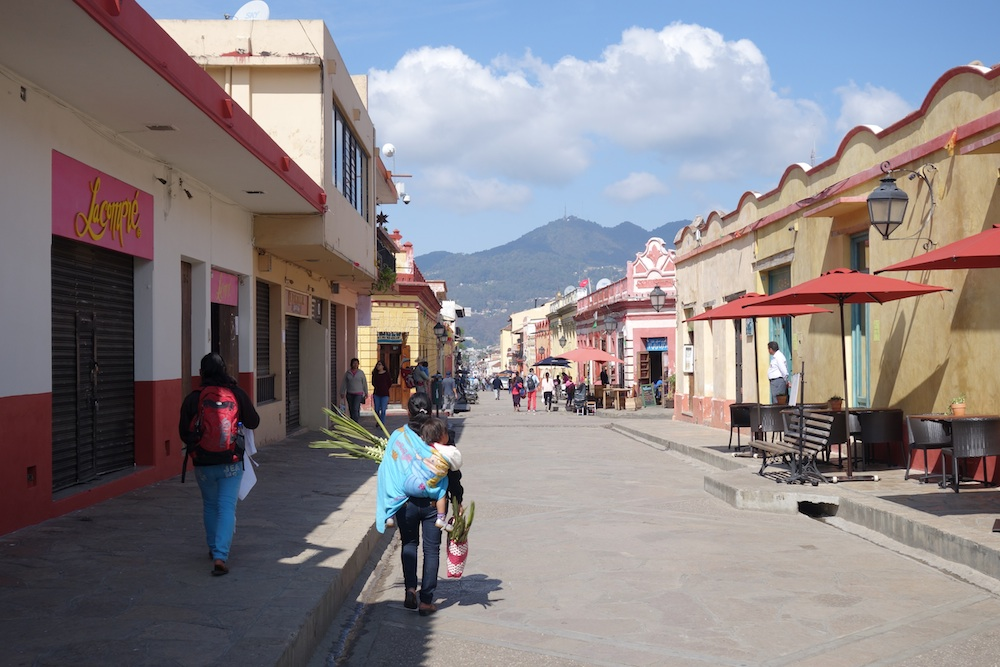 san cristobal de las casas street in the morning