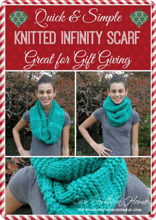 Quick Knit Infinity Scarf Pattern : Quick & Easy Knitted Infinity Scarf - Our Southern Home