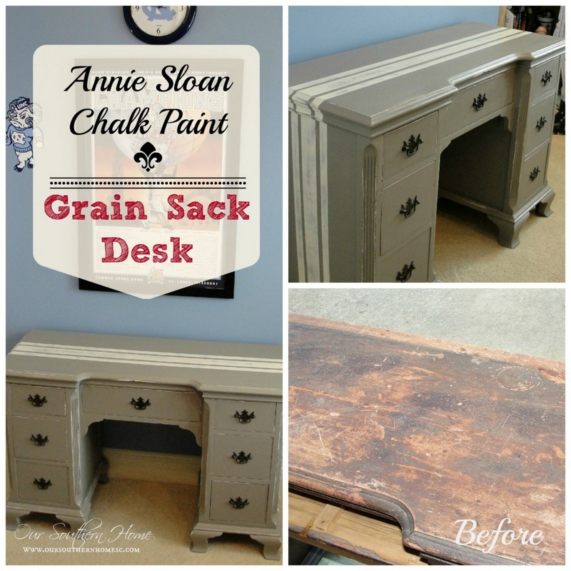 Antique desk painted with Annie Sloan Chalk paint with a grain sack stripe from Our Southern Home #grainsack #ascp
