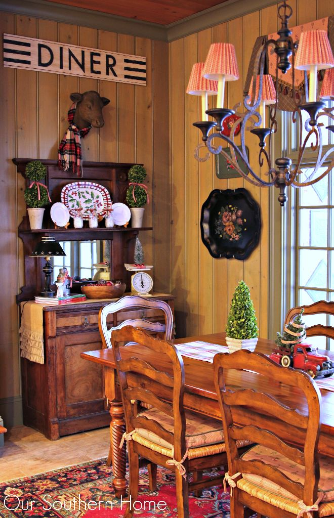 Christmas Kitchen Hutch ready for the holiday with French Country Style from Our Southern Home