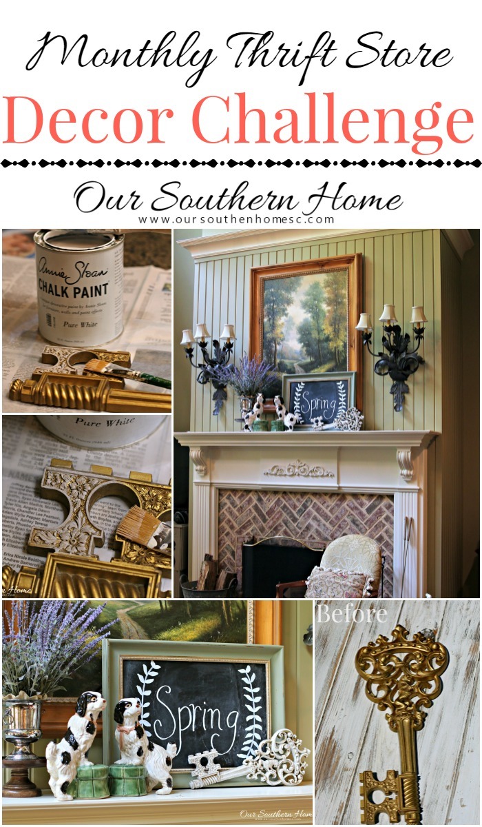 Beautiful spring mantel with thrift store finds by Our Southern Home